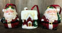 Set of 3 Ceramic Traditional Hand Painted & Glazed Christmas Tree Decorations